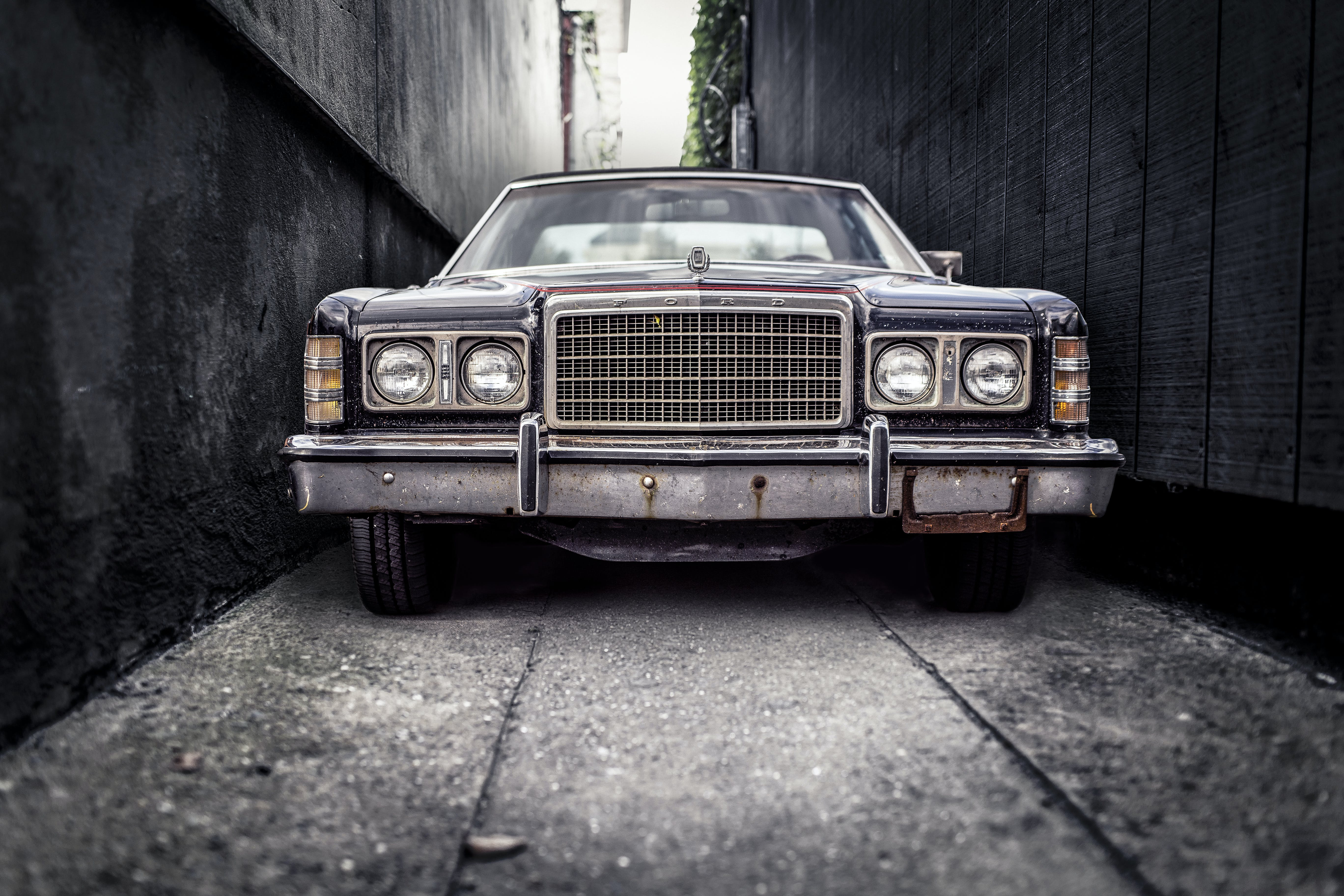 Free stock photo of car, vintage, parking, narrow