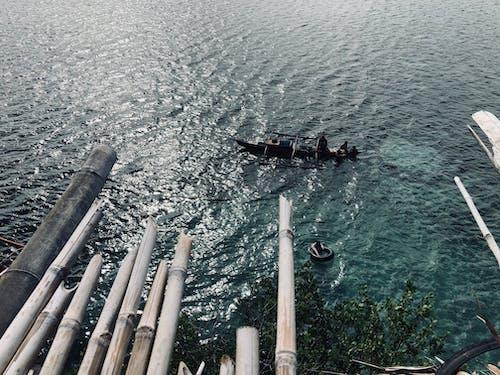 Free stock photo of bamboo trees, boat, sea scape