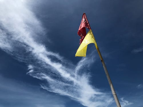 Free stock photo of blue sky, clouds, flags