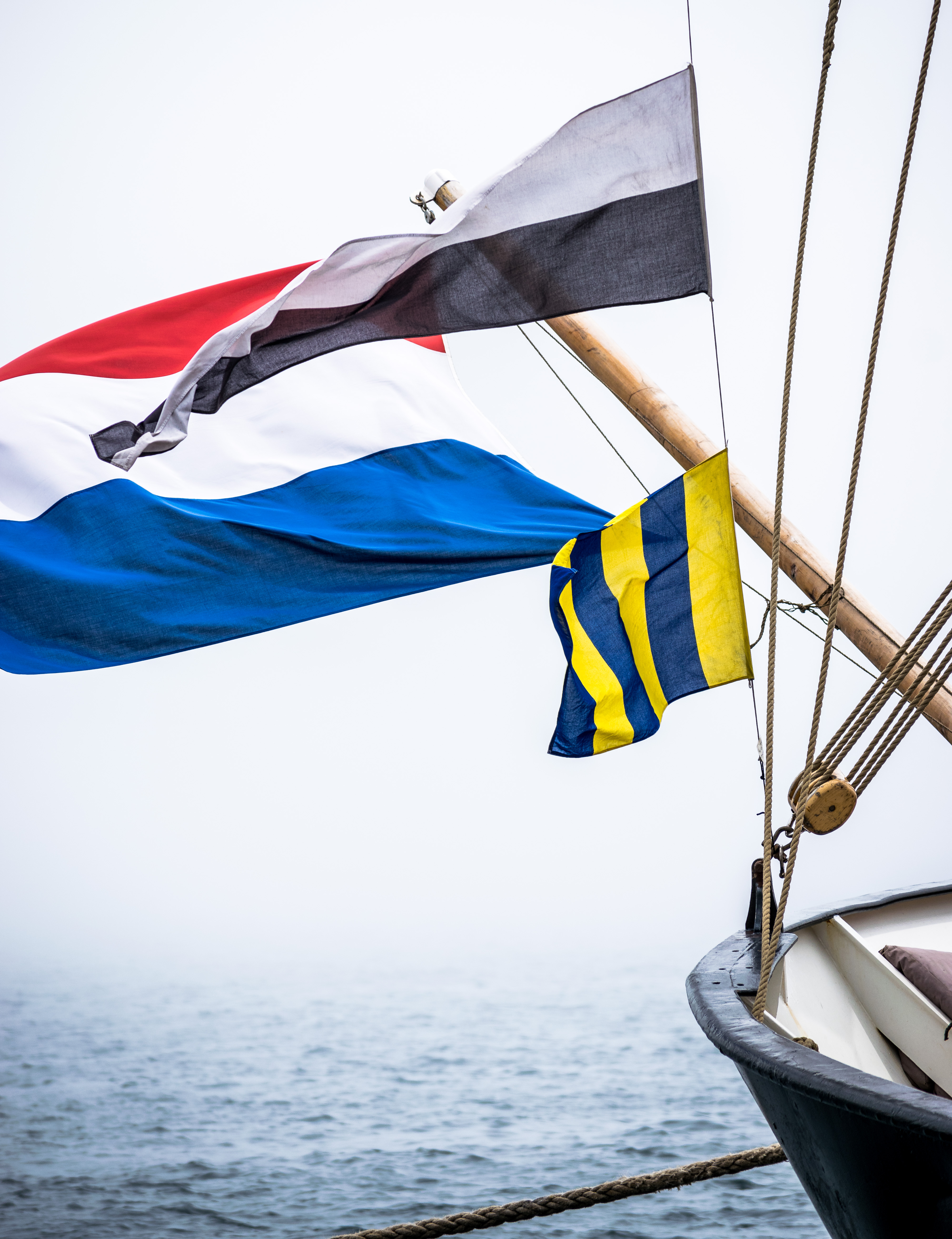 Banner flags swaying on a boat