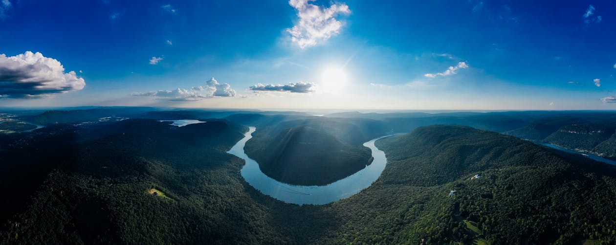 A Drone Shot Of A Curving River