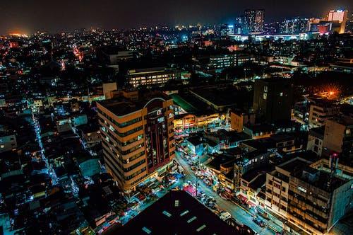 Ảnh lưu trữ miễn phí về ánh đèn thành phố, các tòa nhà, cảnh quay drone, cao