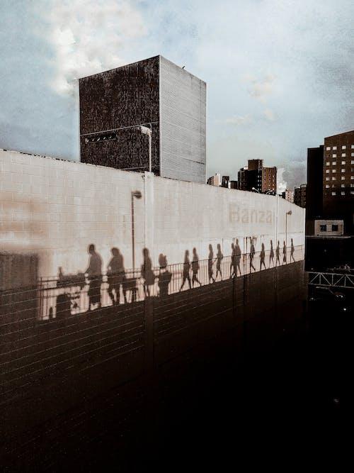 Silhouette of People Walking on Street Scenery
