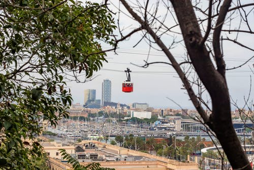 Photo of Red and White Cable Car