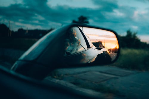 Side Mirror with Sunset View