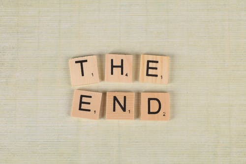 "Close-Up Of Scrabble Tiles Forming The Words ""The End"""