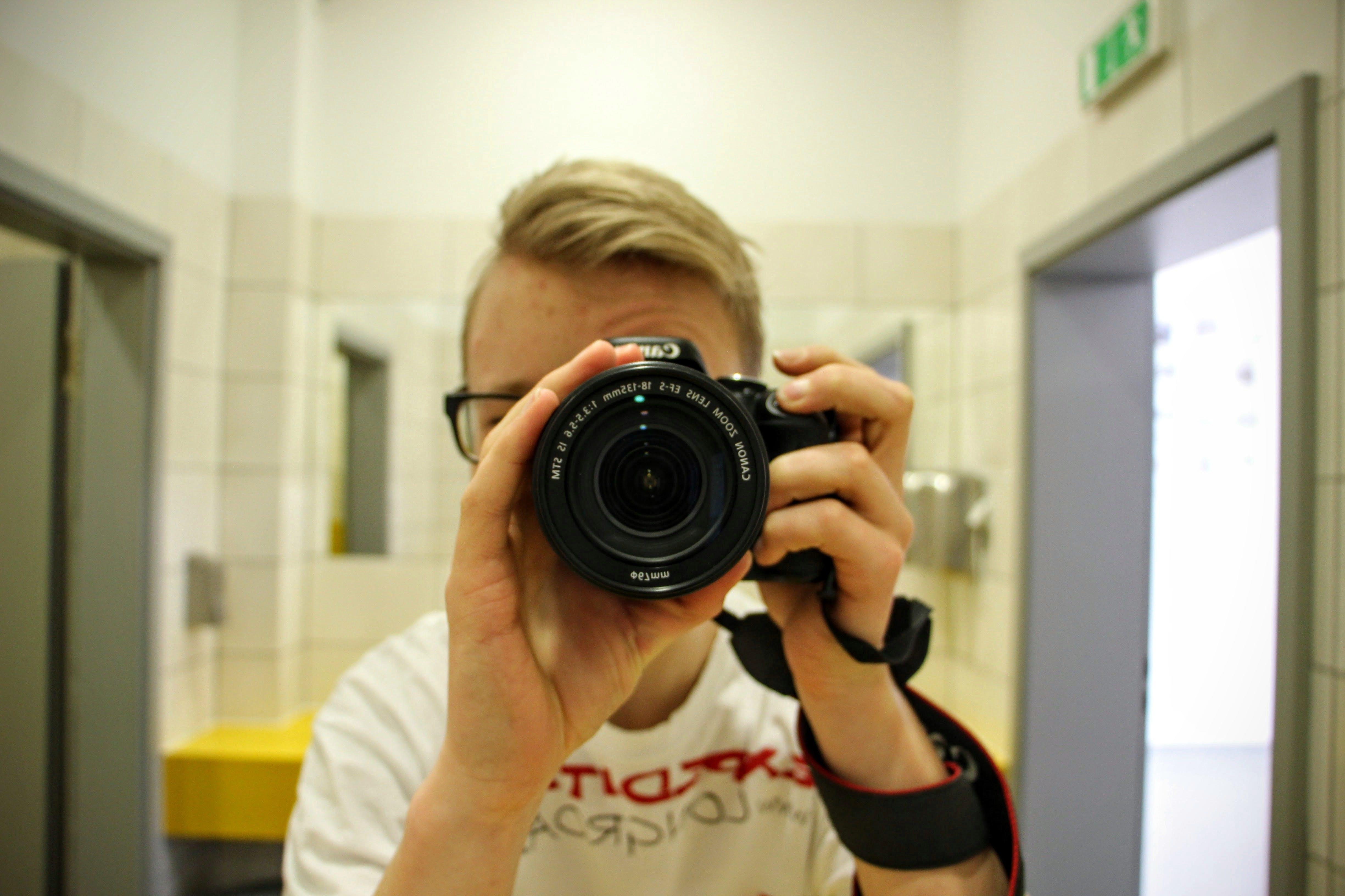 Free stock photo of canon, mirror image, selfie