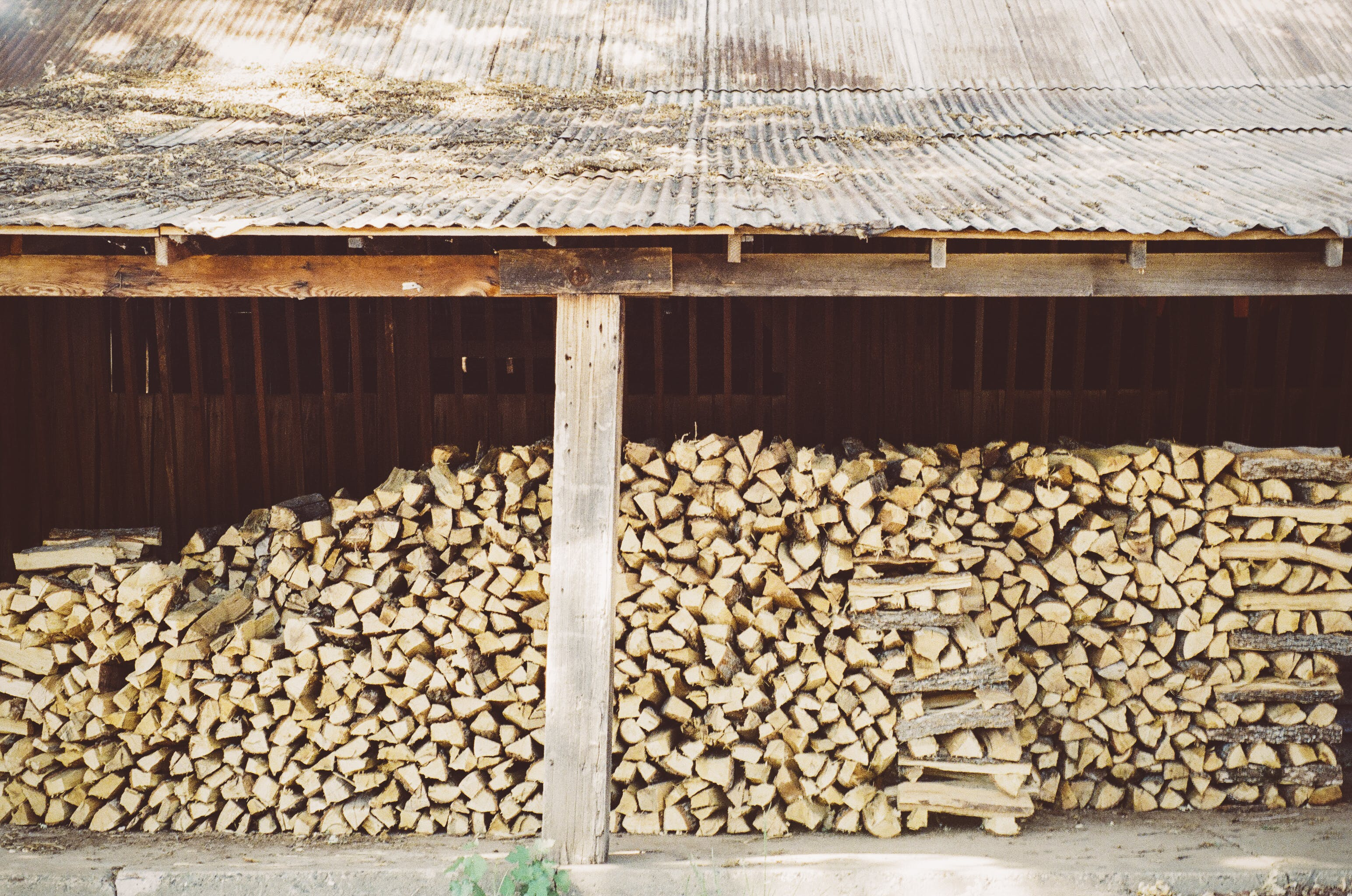 firewood, stack, stacked