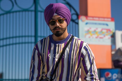 Man Wearing Purple Turban