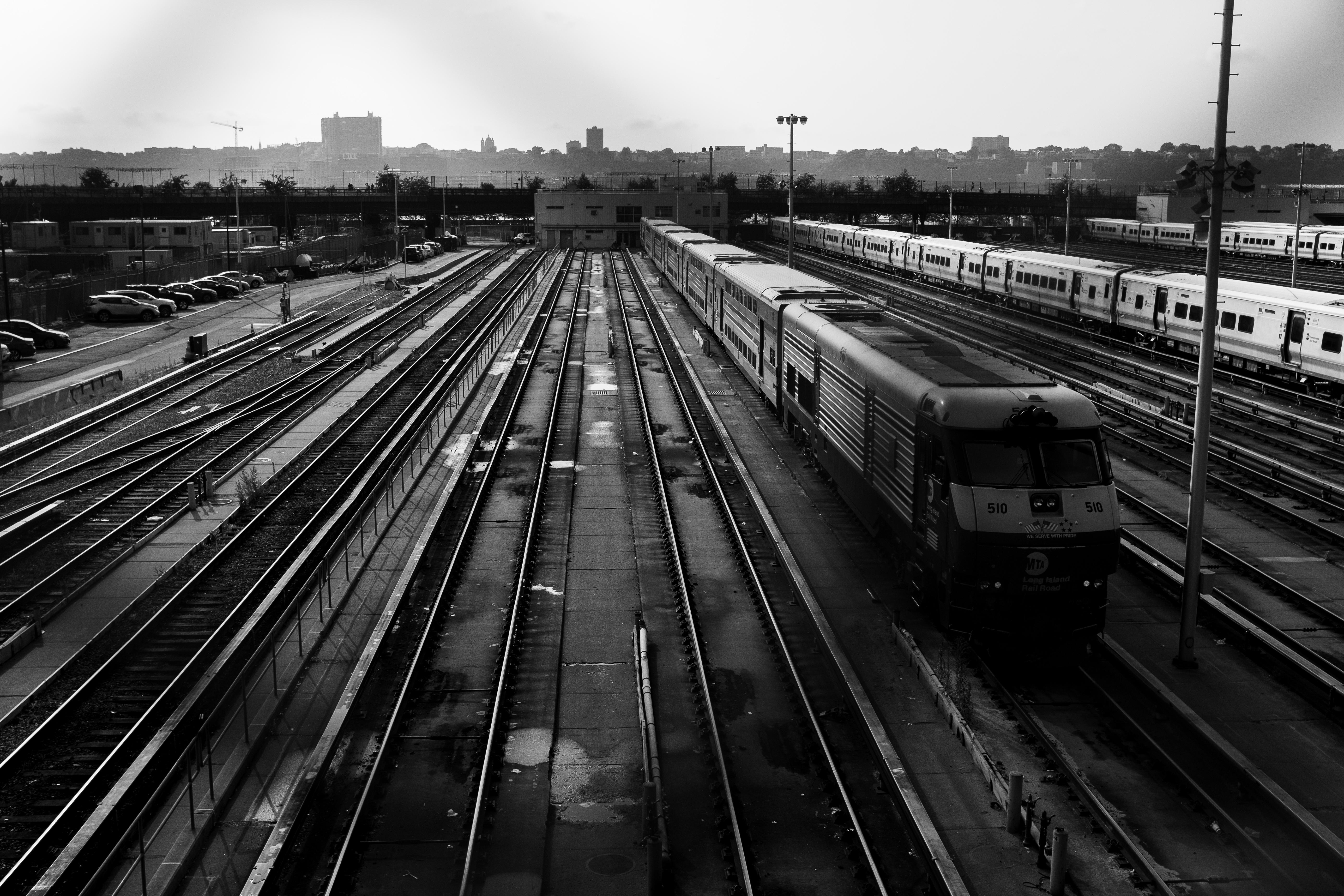 Gray Scale Photo of Train