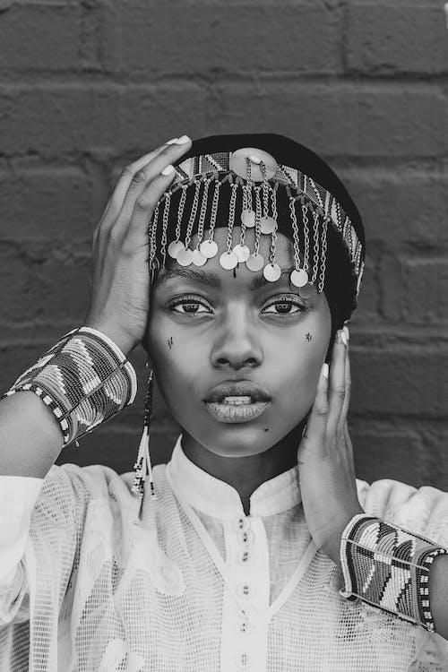 Grayscale Photo of Woman With Headband