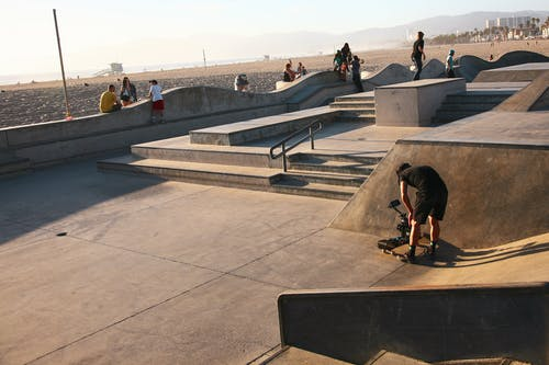 Free stock photo of Film Crew, film set, skate park, skateboarding