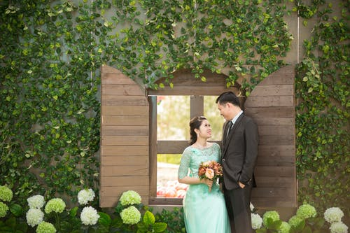 Kostenloses Stock Foto zu beziehung, blätter, braut, bräutigam