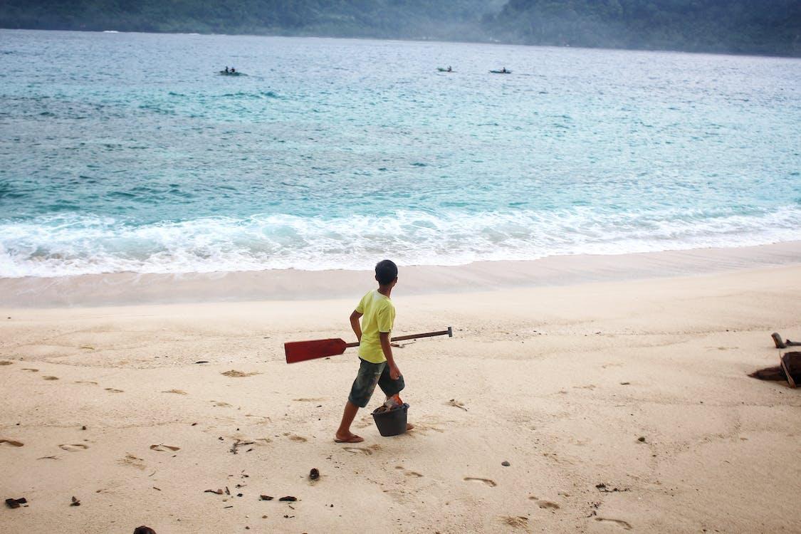 canoagem, criança, litoral