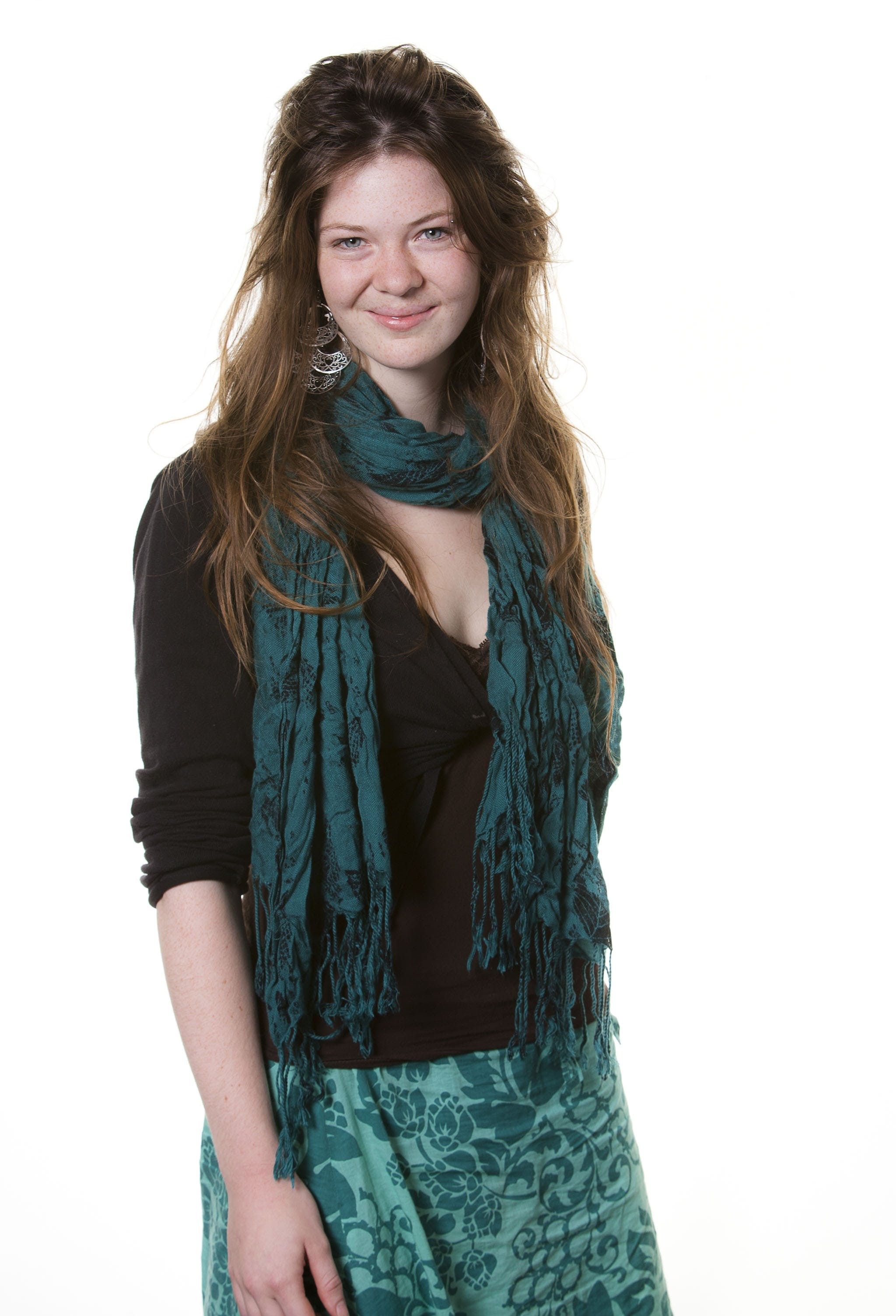Free stock photo of blue scarf, long hair, model, portrait
