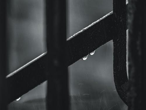 Monochrome Photo of Wet Metal Frame