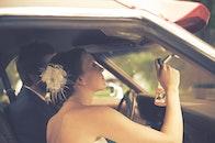 couple, wedding, inside car