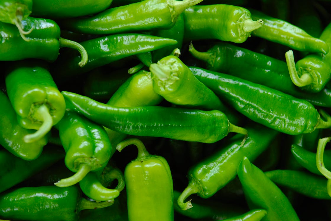 Close-Up Photo of Green Chili Peppers