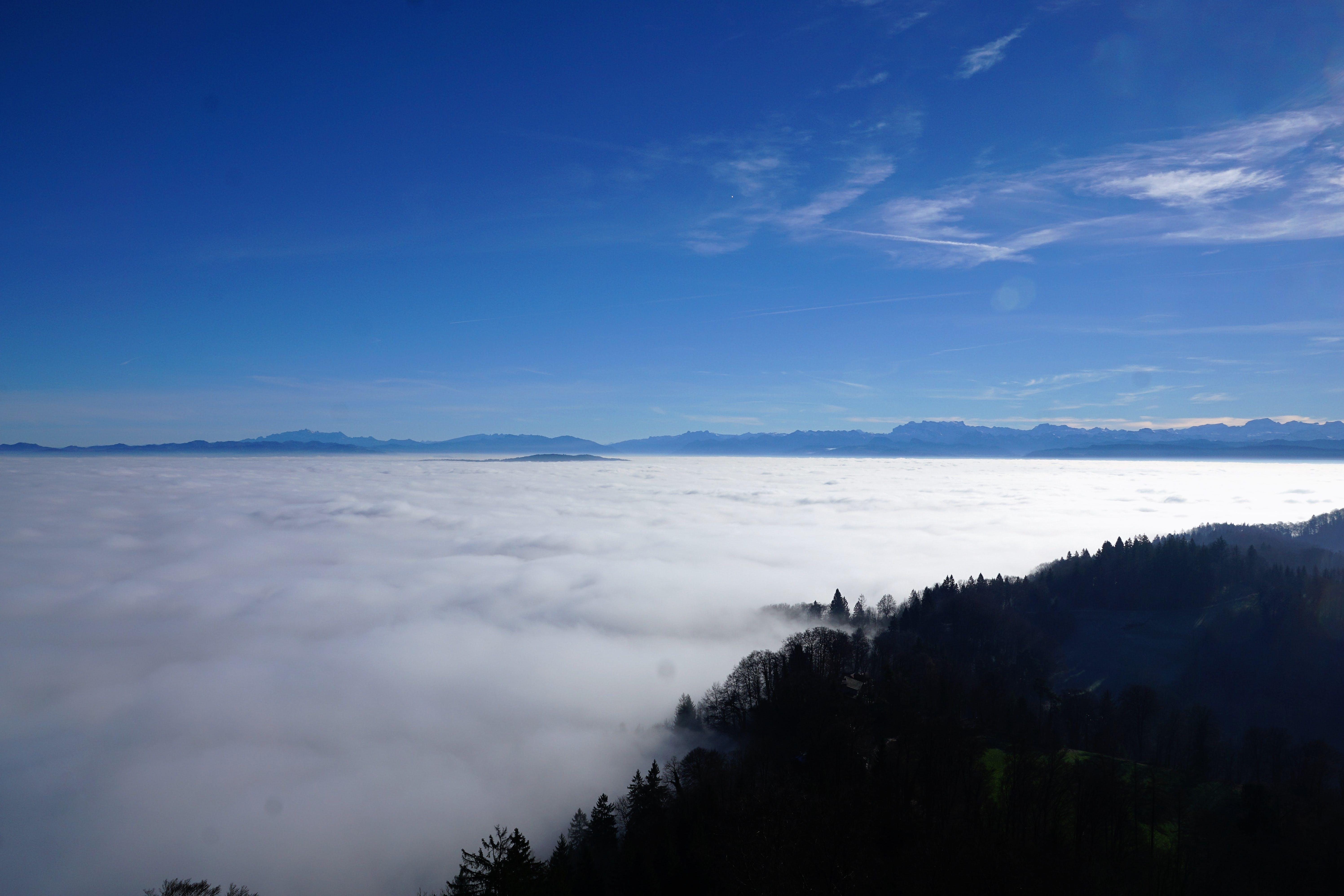 clouds, cloudscape, mountain