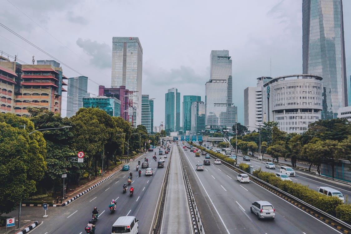 architektura, autostrada, biznes