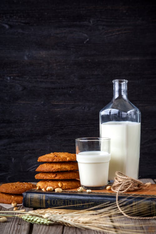 Milk Bottle Beside Cookies