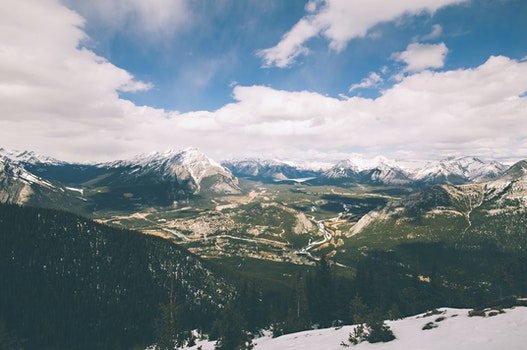 Free stock photo of snow, landscape, forest, mountain
