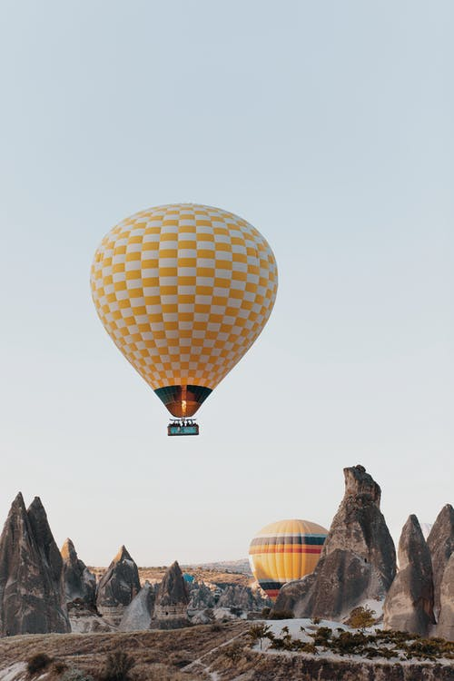 Yellow and White Hot Air Balloon