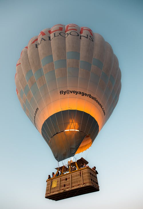 People Riding Hot-Air Balloon