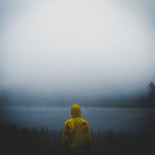 Back view Photo of Person Wearing Yellow Hooded Jacket Standing near Body of Water