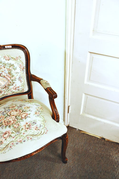 White and Gray Floral Chair