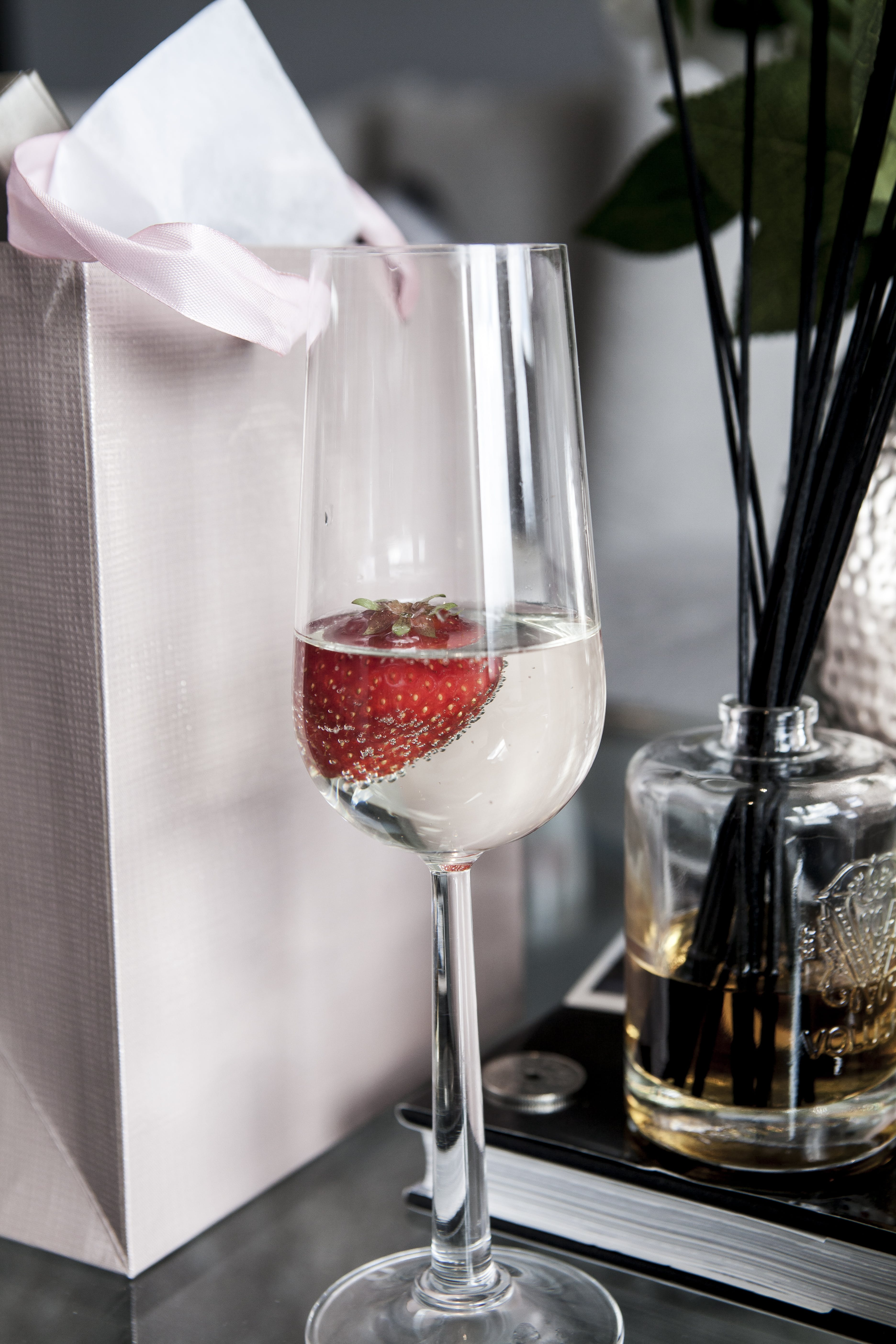 Clear Wine Glass With Strawberry in Glass