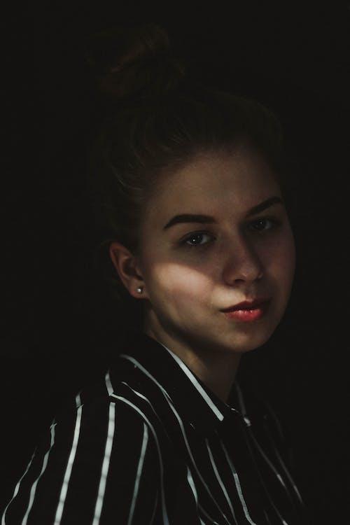 Woman Wearing Striped Collared Top