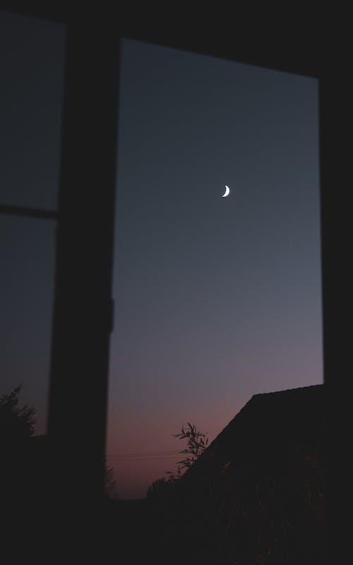 Free stock photo of crescent, gray sky, house, moon
