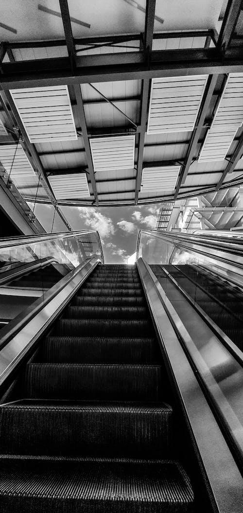 Fotobanka sbezplatnými fotkami na tému architekti, čierna a biela, eskalátor, kovové schody