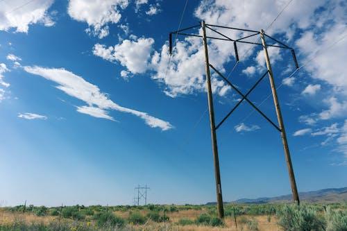 Foto d'estoc gratuïta de acer, alt voltatge, cables, camp