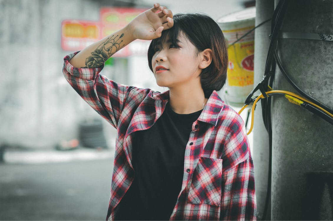 Woman Wearing Plaid Shirt