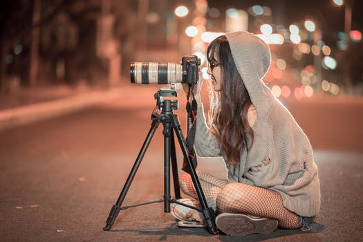 Free stock photo of person, night, street, camera