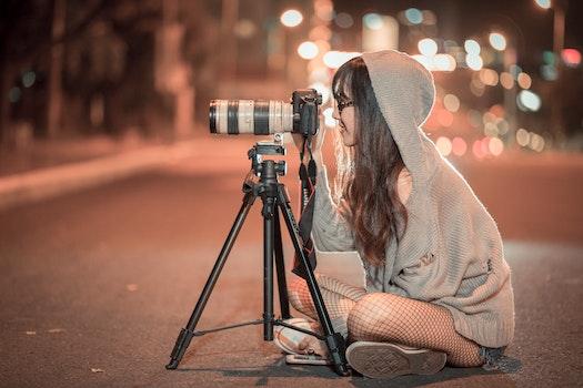 Free stock photo of person, night, street, camera
