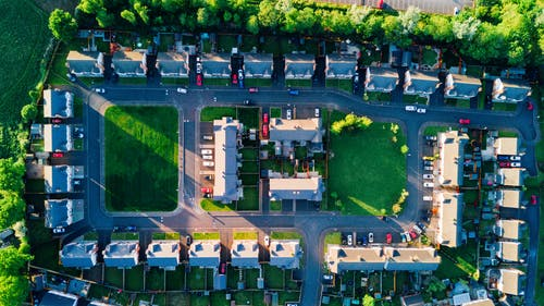 Top View Photo of Houses Near Street