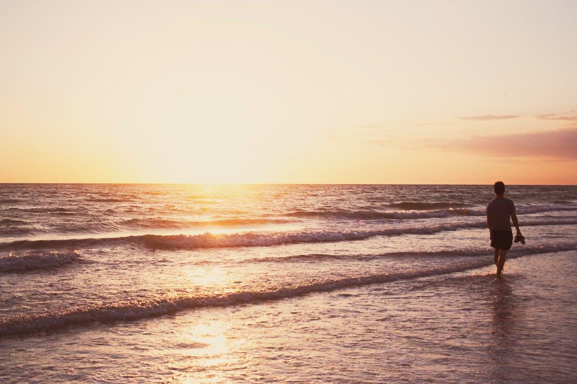 Person, Die An Der Küste Während Der Goldenen Stunde Steht