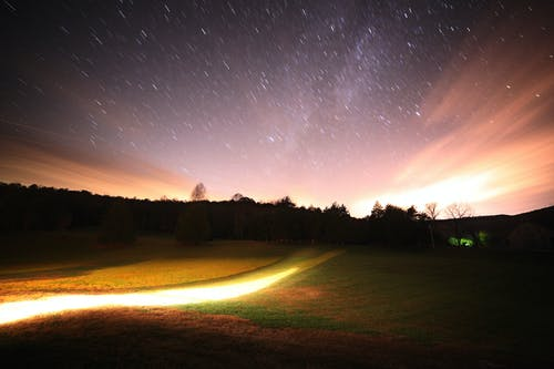 Time-lapse Photography of Stars and Mountains during Nighttime