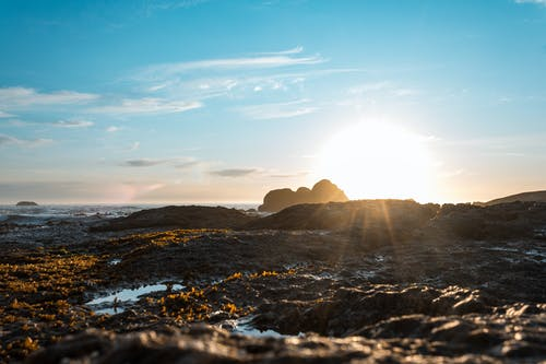 The Sun Rays Over A Rocky Shore Of The Sea