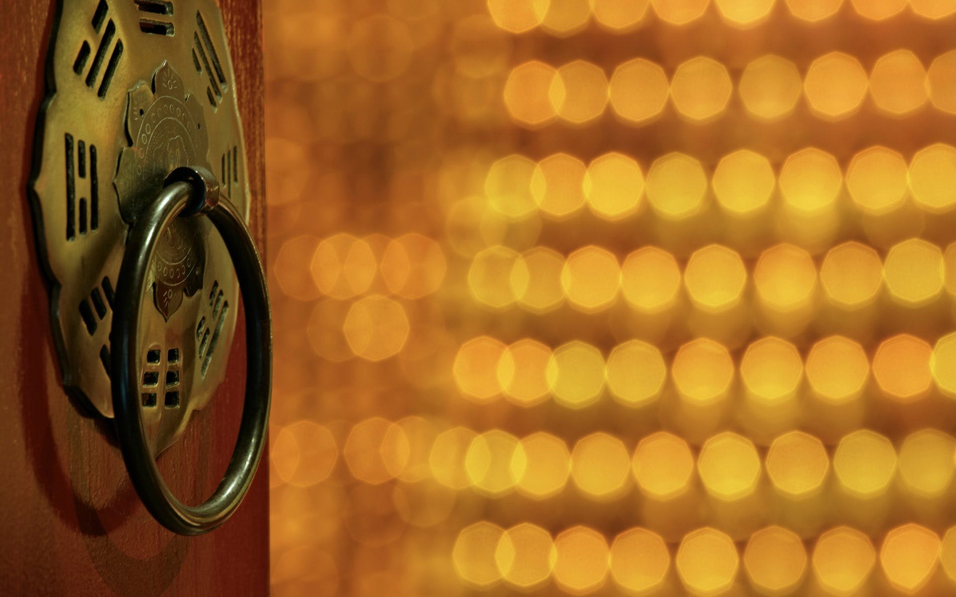 Brass Door Knocker in Bokeh Photography