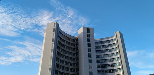 Free stock photo of blue sky, blue sky and white cloud with, modern building