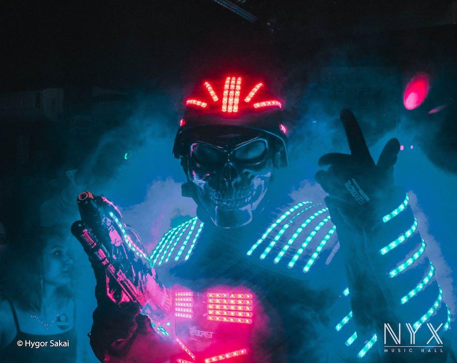 diskotek, fejring, neonlys