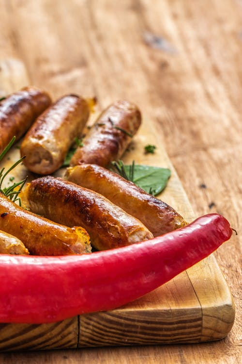 Free stock photo of braai, green pepper, red pepper, sausages