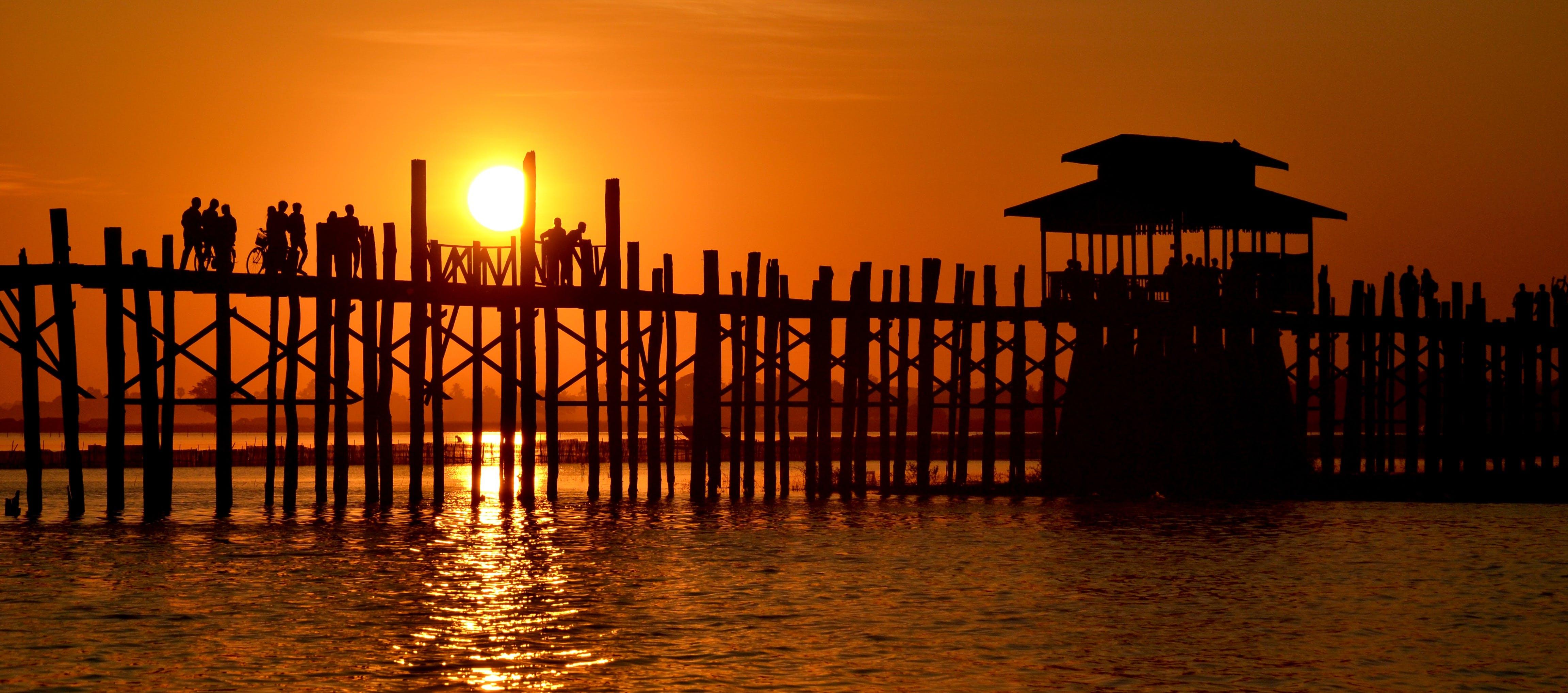 backlit, beach, bridge