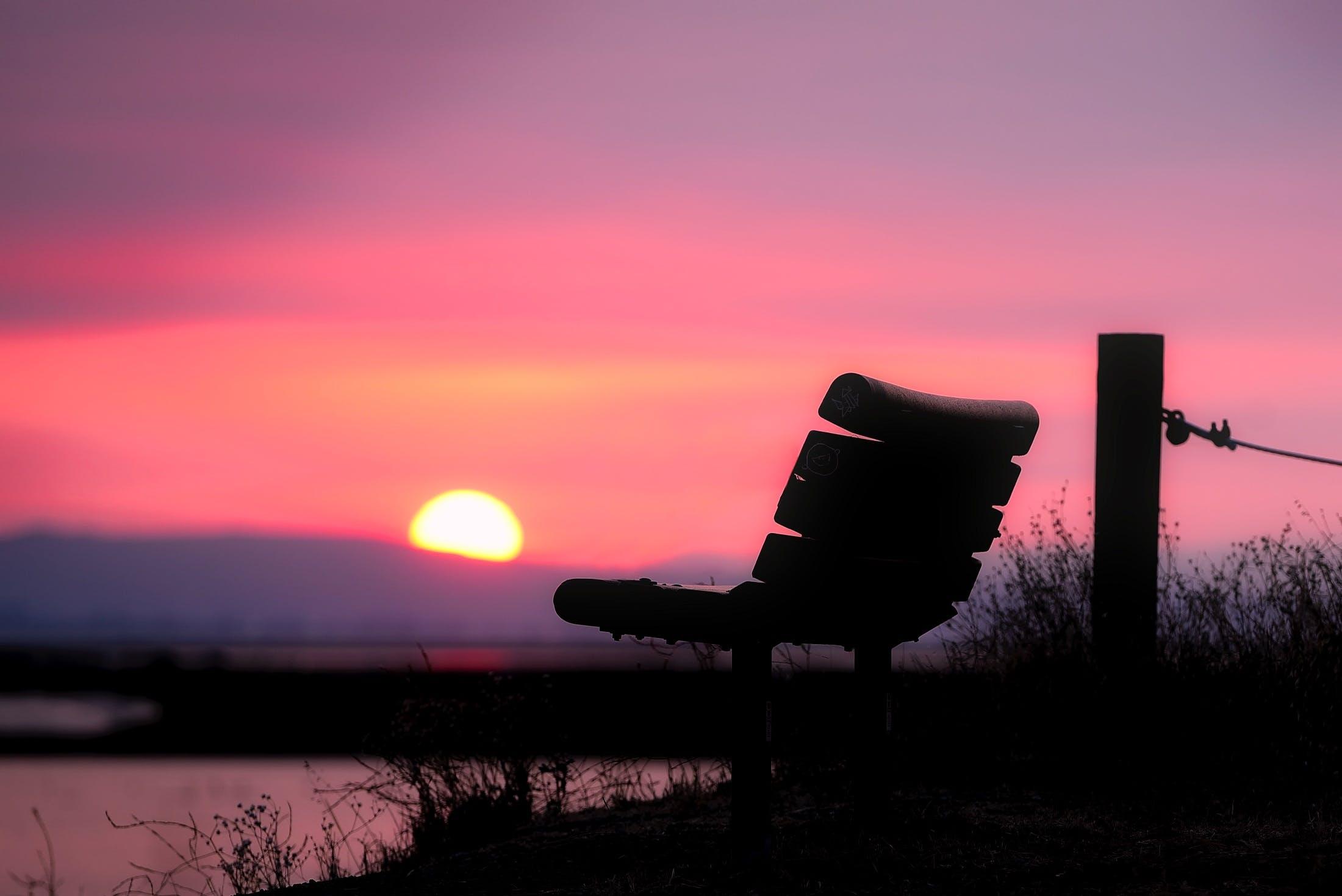 Free stock photo of bench, light, sea, dawn