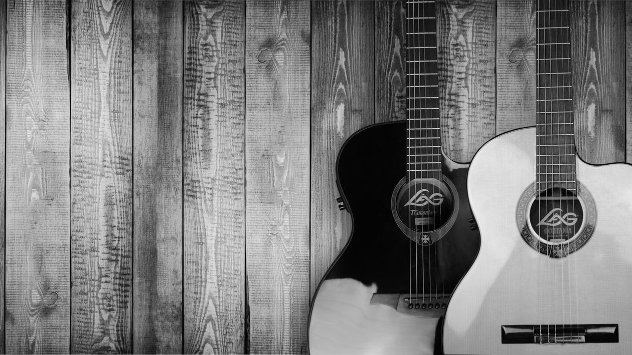 Two Grayscale Acoustic Guitars
