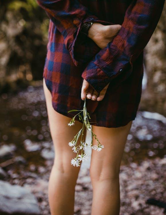 camicia a quadri, donna, fiori